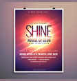 shine club music party flyer template with vector image