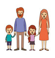 color image caricature family with parents and vector image