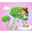 A girl taking pictures near the ladder plants vector image