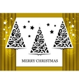 Gold greeting card with Christmas tree vector image
