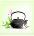 green leaves and teapot vector image