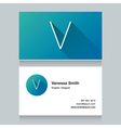 business card letter V vector image vector image