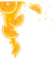 Background of Oranges and Juice Splashes vector image