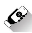 hand holding smart phone with dollar icon mobile vector image
