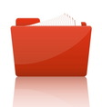 Orange file folder with paper vector image