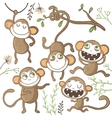 Set of funny hand drawn monkeys vector image