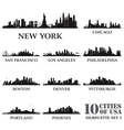 Silhouette city set of USA 1 vector image