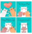Sweet cards for Mothers Day with cats vector image