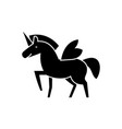 unicorn icon black sign on vector image