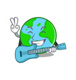 with guitar world globe character cartoon vector image