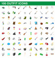 100 outfit icons set cartoon style vector image