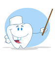 Dental Tooth Character Holding A Pointer vector image