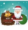 santa claus card wooden bag gift graphic vector image