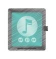 drawing smartwatch music player app technology vector image