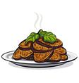 fried eggplants vector image