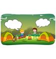 Boys camping out in the field vector image vector image