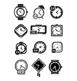 Clocks wristwatches and alarm clocks icons vector image