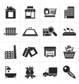 Black Real Estate and building icons vector image