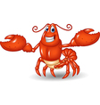 Cartoon happy lobster hands up isolated vector image