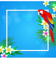 Summer background with tropical flowers and parrot vector image