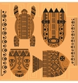 Set decorative mask fish turtle african vector image