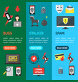 cartoon cyber crime security banner vecrtical set vector image