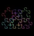 Colorful outline puzzle pieces vector image