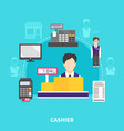store cashier round composition vector image