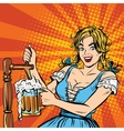 Young blond woman pours a beer Germany national vector image