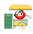 a cart stall and a tomato vector image vector image