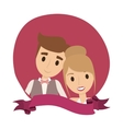 Couple of newlyweds frame decorative vector image