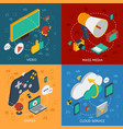 isometric modern technology square composition vector image
