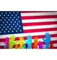 hand with USA flag Grunge USA Flag american vector image