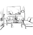 Hand drawn room interior sketch chair table vector image