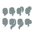 Set of female elegant silhouettes with different vector image