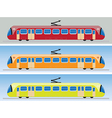 Side view of Tram car or trolley car flat design vector image