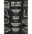Menu sport bar restaurant food template placemat vector image vector image
