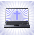 cross and laptop vector image
