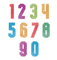 Retro style geometric bold numbers set with hand vector image