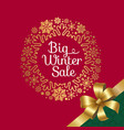 big winter sale with ribbon vector image