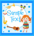 border design with girl playing drum vector image