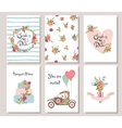 Collection of 6 cute romantic universal cards vector image