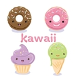 Cute Kawaii food characters set collections vector image