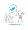 entrepreneur talks about money vector image