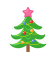flat style decorated christmas tree icon vector image