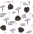 seamless modern pattern with flamingo and palm vector image