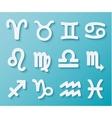 Shiny White Zodiac Icons on Blue Background vector image