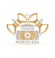 viking north sea isolated label with warrior ax vector image