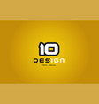 10 number numeral digit white on yellow background vector image