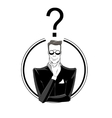 Businessman confused with red question mark vector image vector image